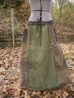 Winter Tree Earth Tone Corduroy Patchwork Hippie Skirt