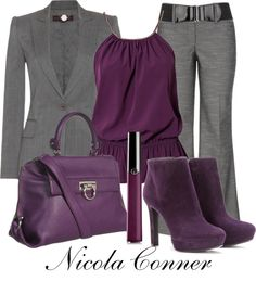 """""""Purple & Grey"""" by nicola-conner on Polyvore"""