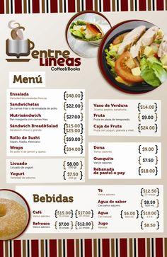 menu de una cafeteria