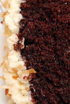 Oh. My. Gosh. Coconut-Chocolate Cake with Coconuty Cream Cheese Icing.