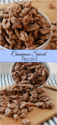 Cinnamon Spiced Pecans-a simple recipe using an egg white, sugar, cinnamon and a dash of salt