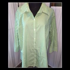 Pretty Shirt Green and white stripe cotton shirt.  I don't remember wearing this.  Great condition Liz Claiborne Tops Button Down Shirts