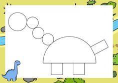 Dzień Dinozaura - Kształty / Stwórz swojego dinozaura do druku Dinosaur Activities, Dinosaur Crafts, Preschool Activities, Art Plastique, Kids Learning, Kindergarten, Homeschool, Letters, Activities