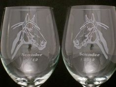 Custom Horse Etched Wine Glasses christmas gifts, Birthday, mothers day - $20.00 - Handmade Glass, Crafts and Unique Gifts by Etched Dreams