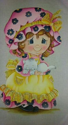Pintura em tecido por Susana Gonçalves - face Tole Painting, Fabric Painting, Girl Clipart, Up Costumes, Country Paintings, 3d Cards, Textiles, Girl Cartoon, Adult Coloring Pages
