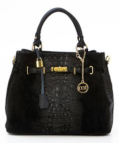 Another great find on #zulily! Black Croc-Embossed Leather Expanding Satchel by Mia Tomazzi #zulilyfinds