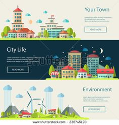 Buy Urban Landscapes Banners Set by BoykoPictures on GraphicRiver. Set of vector illustration of flat design urban landscape compositions Vector Graphics, Vector Free, Winter Breaks, Graduation Project, English Countryside, Urban Landscape, City Life, Marketing, Illustration