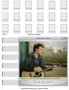 """On The Workbench: """"Collide"""" by Howie Day.  I am starting the guitar tab for this cool ballad today.  It should be pretty straight forward and I just stick to the main strum pattern and chords.  Free tab updates and skype review available:  www.jeffrey-thomas.com"""