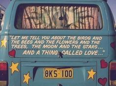 hippie van vw bus birds and the bees