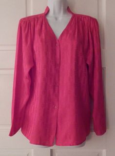 PURE ARGENTI BLOUSE pink sz 10 career office button front long sleeve