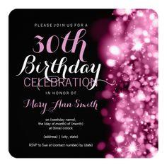 Th Birthday Party Pink Sparkling Lights Invitation
