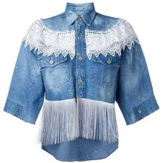 Forte Couture Fringed Denim Shirt (12 565 UAH) ❤ liked on Polyvore featuring tops, blue, blue denim shirt, denim top, fringe top, blue top and blue shirt