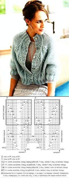 Capelet, directions in Russian; chart for Aran pattern, 22 sts = 1 repeat 22 п. (1 раппорт) Remeber изн. = purl; лиц. = knit