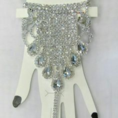 Crystal rhinestone chain bracelet silver plated #beautiful #crystal #rhinestone #jewelry for #weddings #proms #pageants or any #event #bridesmaids #gift #bride #costumejewelry #accessories #bridal Jewelry Bracelets