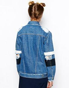 Enlarge ASOS Stripe Sleeve Denim Jacket