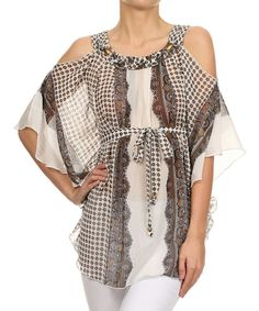 Look what I found on #zulily! Kokette Brown Abstract Cutout Tunic by Kokette #zulilyfinds