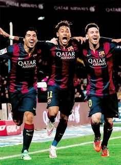 Luis Suarez, Neymar Jr, and Lionel Messi. Neymar Jr, Messi Neymar Suarez, Messi And Neymar, Best Football Players, Good Soccer Players, Football Is Life, Sport Football, Nike Soccer, Dream Team
