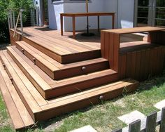 "Landscaping around a deck design ideas, pictures, remodel, ""details on the deck material?deck materialseat /rail a. Modern Porch, Modern Deck, Modern Entrance, Contemporary Patio, Steps Design, Deck Design, Design Ideas, Design Inspiration, Cool Deck"