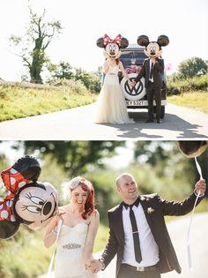Technicolour DIY Wedding on Bride Bubble real weddings. Disney Minnie and Mickey Balloons. Camper van.