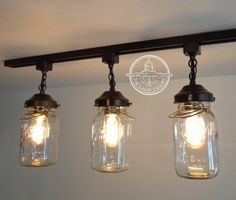 Flush Mount Ceiling Light Mason Jar Track Lighting Fixture Trio With Vintage Quarts Chandelier Pen