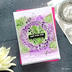 Happy Monday crafty friends! Here's my second card I made using Season's Greetings stamp set from @pinkfreshstudio 💚💜 Details on my blog. . . . . . #alexsyberia #pinkfreshstudio #cardmaking #cardmakingideas #cardmakinghobby #watercolor #watercolor_daily #watercoloring #watercolorcards #watercolorcard #handmadecards #papercrafting #embossing #cardmakersofinstagram #cardmaker #cardmakingfun #diycards #pinkfreshstudiostamps Card Maker, Watercolor Cards, Happy Monday, Diy Cards, Cardmaking, Card Ideas, About Me Blog, Paper Crafts, Stamp