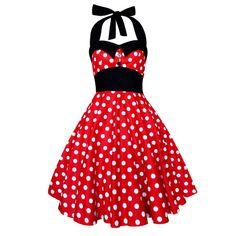 Rockabilly Dress Mickey Minnie Mouse Dress Polka Dot Dress Halter Vintage Pin Up Dress 1950s Retro Swing Party Christmas Plus Size Clothing