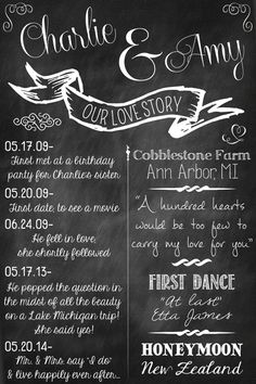 Chalkboard Wedding Poster  Our Love Story  by ReaganistaDesigns, $25.00