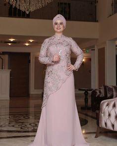 Powder Fully Lined Crew neck Muslim Plus Size Evening Dress Tesettür Modası 2020 Dress Brokat Muslim, Gaun Dress, Dress Pesta, Muslim Dress, Hijab Evening Dress, Hijab Dress Party, Hijab Style Dress, Abaya Fashion, Muslim Fashion