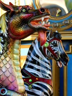 Vivid, Unusual Combination On This Carousel. Dragon Meets Zebra... Saddle Up!