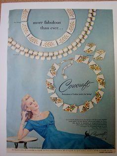 Nice photo of white enamel & rhinestone pieces in 1957 CORO Corocraft Rhinestone SEA SPRITE Necklace Earrings #Vintage #JEWELRY Photo Print #Ad