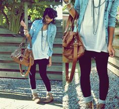love the denim jacket and the boots, and the long white t shirt
