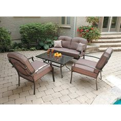 Mainstays Wentworth 4 Piece Patio Conversation Set Seats For More Information