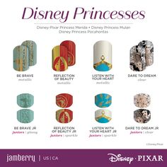 Give yourself an amazing manicure at home with the Disney Collection by Jamberry nail wraps! Gorgeous princess designs and more! Disney Princess Nails, Princess Pocahontas, Princess Merida, Disney Princess Cinderella, Disney Nails, Disney Princesses, Merida Disney, Aurora Disney, Disney Pixar