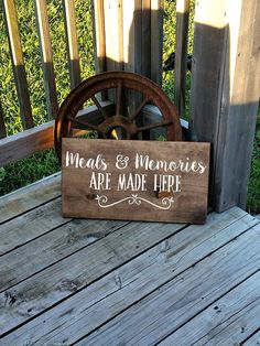 Kitchen Wall Sign  Meals and Memories Are by RusticLaneCreations