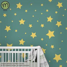 Modern Nursery Star Wall Decals for Children's Room or Baby Nursery - Large - Space Themed Nursery, Nursery Themes, Nursery Ideas, Room Ideas, Star Wars Nursery, Rock A Bye Baby, Star Wall, Baby Kids, Baby Baby