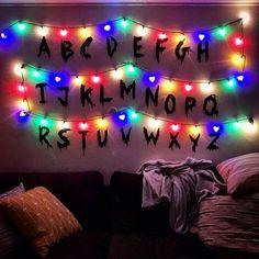 Stranger Things Wall Christmas Lights Alphabet Upside