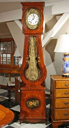French Painted Tall Case Morbier Clock $7,750