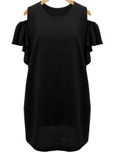 Black Ruffle Sleeve Open Shoulder Plus Dress -SheIn(Sheinside)