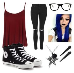 """""""Untitled #465"""" by jazzybear-398 ❤ liked on Polyvore featuring Converse, Topshop and Muse"""