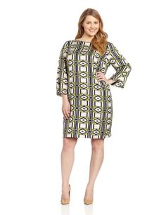 Jones New York Women`s Plus-Size Boat-Neck Dress
