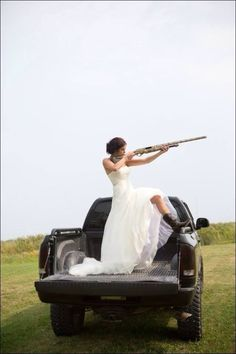 Bride In Back Of Truck With Shot Gun Pic Country Wedding Dresses, Outdoor Furniture, Outdoor Decor, Shotgun, Hunting, Bride, My Dream, Home Decor, Truck