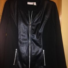 Very sharp, Black Chico Jacket. This Black & silver zippers on pockets, two tone pattern Jacket is a must have. Chico's Jackets & Coats Blazers