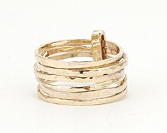 Beautiful Delicate ring - 6 Hammered Stacking Ring Set connected with Connector Rings