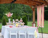 Short Ribbon Backdrop Curtain - Wedding, Birthday Party