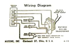 Vintage diagram showing how to wire door chime to three buttons: front, rear, and side.