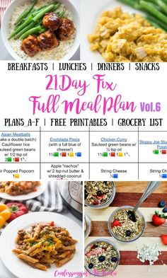 Looking for a 21 Day Fix Meal Plan to help take the guesswork out of meal planning?   This complete ultimate portion fix meal plan contains simple breakfast, lunch, dinner, and snacks, for ALL 21 Day Fix Plans A-F, plus prep tips and an itemized printable grocery list! Many recipes have WW points as well. 21 Day Fix Menu, 21 Day Meal Plan, 21 Day Fix Diet, 21 Day Fix Meal Plan, Meal Prep Plans, P90x3 Meal Plan, 21 Day Fix Snacks, Food Prep, Beachbody Meal Plan