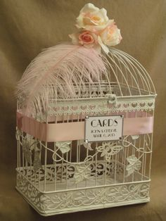 Perfect for spring wedding #BirdCageWeddingCardholder Shop - Birdcage #WeddingCardholder With Pink Feather, Pink  http://www.birdcageweddingcardshop.com/birdcage-wedding-cardholder-with-pink-feather-pink-white-roses-shabby-style-customized-lbg004/