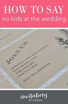 Wedding Invitation Wording No Children Pinterest Invitation