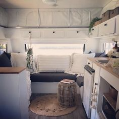 Pop-top caravan renovations - what a lovely lounge area to relax at the end of a day of adventure. Pop Up Caravan, Diy Caravan, Caravan Living, Caravan Home, Retro Caravan, Caravan Storage Ideas, Caravan Renovation Diy, Caravan Interior Makeover, Camper Makeover