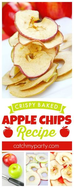 This crispy baked apple chips recipe is the perfect healthy after school snack for kids! | CatchMyParty.com